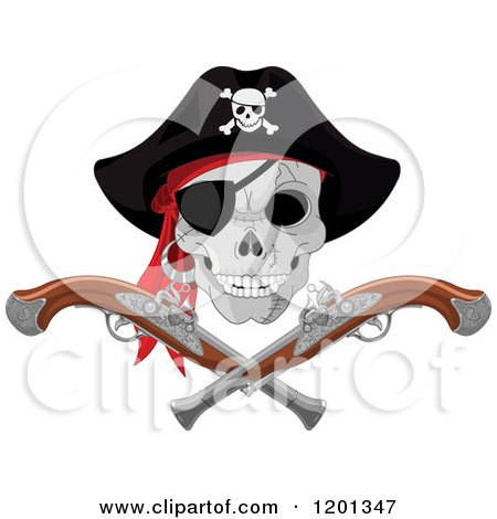 Cartoon of a Pirate Skull with an Eye Patch and Hat over Crossed Pistols - Royalty Free Vector Clipart by Pushkin