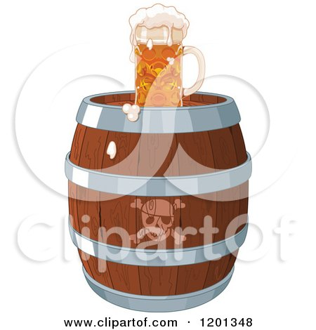 Cartoon Of A Frothy Beer Mug On A Pirate Keg Royalty Free Vector Clipart