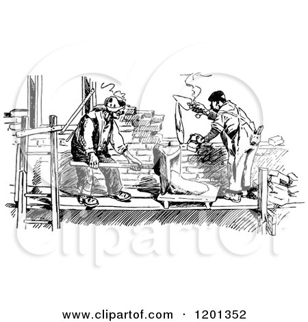 Clipart of a Vintage Black and White Builders Laying Bricks - Royalty Free Vector Illustration by Prawny Vintage
