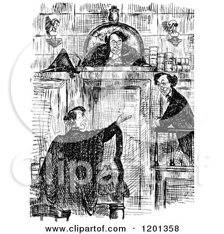 Clipart of a Vintage Black and White Judge and Lawyers - Royalty Free Vector Illustration by Prawny Vintage