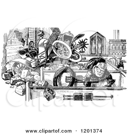 Clipart of a Vintage Black and White Boy and Car Accident in a Building - Royalty Free Vector Illustration by Prawny Vintage