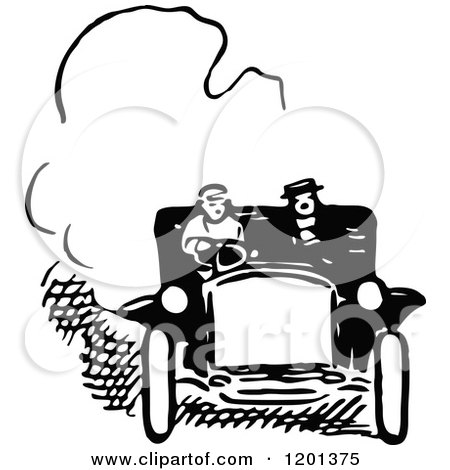 Clipart of a Vintage Black and White Couple in a Car - Royalty Free Vector Illustration by Prawny Vintage