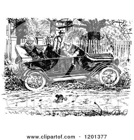 Clipart of a Vintage Black and White Driver Swerving for a Frisky Cat in the Road - Royalty Free Vector Illustration by Prawny Vintage