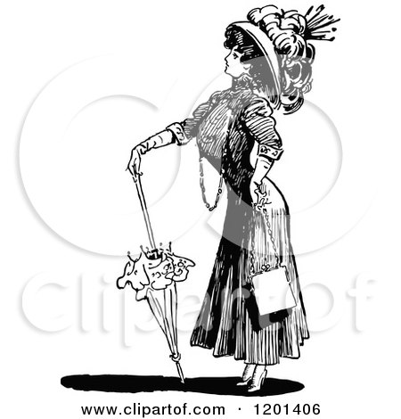 Clipart of a Vintage Black and White Brolly Lady 2 - Royalty Free Vector Illustration by Prawny Vintage
