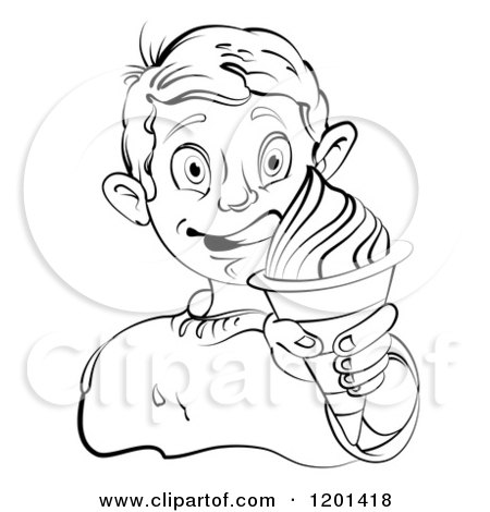 Clipart of a Black and White Boy Licking His Lips and Holding an Ice Cream Cone - Royalty Free Vector Illustration by merlinul