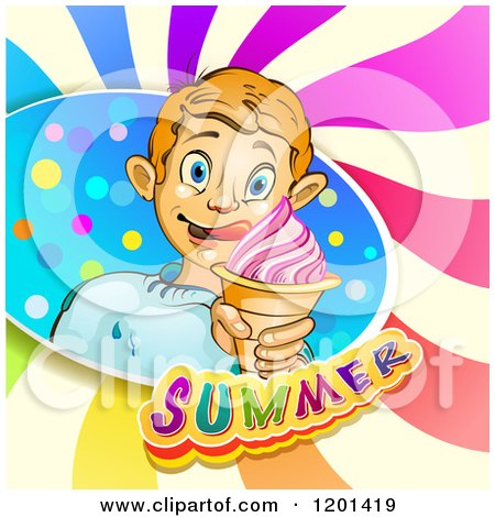 Clipart of a Blond Boy Licking His Lips and Holding an Ice Cream Cone in a Colorful Splash over Text and Swirls - Royalty Free Vector Illustration by merlinul