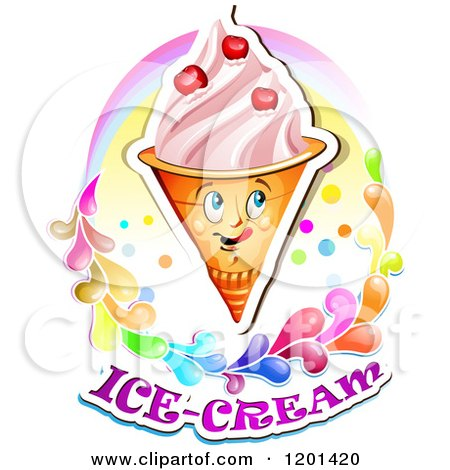 Clipart of a Waffle Ice Cream Cone Mascot with Cherries a Rainbow and Splashes over Text - Royalty Free Vector Illustration by merlinul