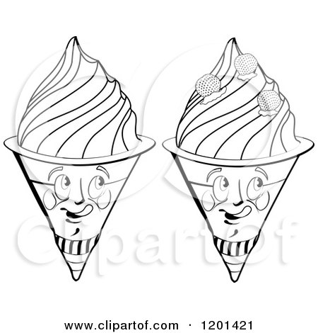 Clipart of Black and White Waffle Ice Cream Cone Mascots - Royalty Free Vector Illustration by merlinul
