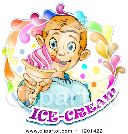 Clipart of a Blond Boy Licking His Lips and Holding an Ice Cream Cone in a Colorful Splash over Text 2 - Royalty Free Vector Illustration by merlinul