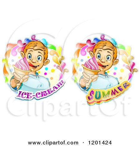 Clipart of a Blond Boy Licking His Lips and Holding an Ice Cream Cone in a Colorful Splashs over Text - Royalty Free Vector Illustration by merlinul