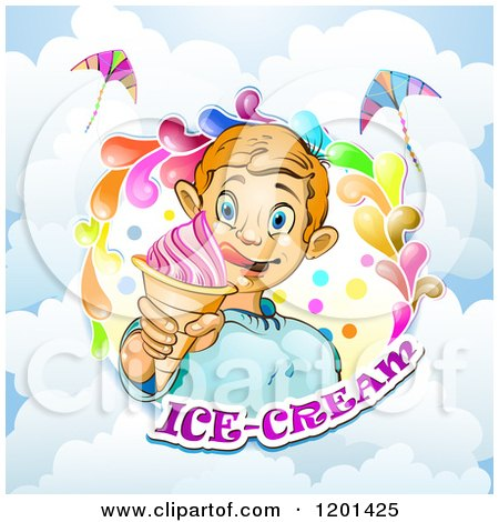 Clipart of a Blond Boy Licking His Lips and Holding an Ice Cream Cone in a Colorful Splash over Text and Clouds - Royalty Free Vector Illustration by merlinul