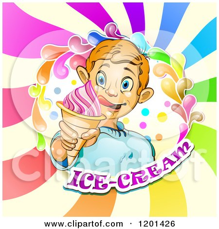 Clipart of a Blond Boy Licking His Lips and Holding an Ice Cream Cone in a Colorful Splash over Text and Swirls 2 - Royalty Free Vector Illustration by merlinul