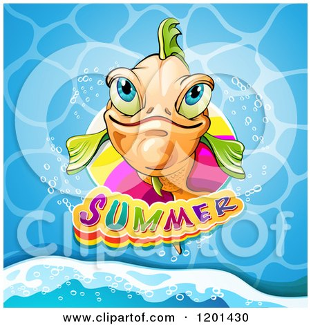 Clipart of a Smiling Orange Fish over Water and Summer Text - Royalty Free Vector Illustration by merlinul