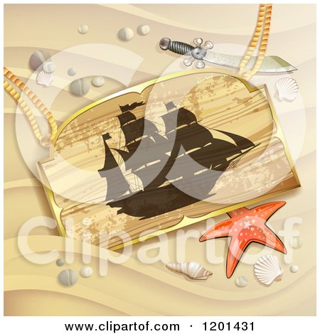 Clipart of a Starfish and Wooden Pirate Ship Sign on a Sandy Beach - Royalty Free Vector Illustration by merlinul