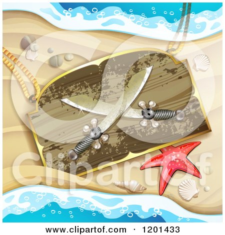 Clipart of a Starfish and Wooden Pirate Knife Sign on a Sandy Beach - Royalty Free Vector Illustration by merlinul