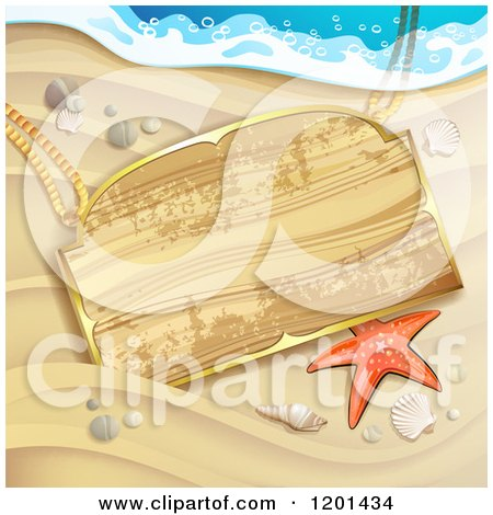Clipart of a Starfish and Wooden Sign on a Sandy Beach - Royalty Free Vector Illustration by merlinul