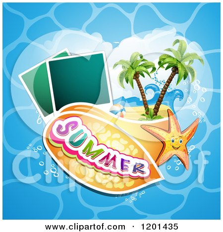 Clipart of a Starfish over a Beach with Instant Photos and Summer Text 3 - Royalty Free Vector Illustration by merlinul