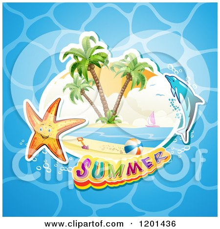 Clipart of a Dolphin Leaping over a Beach and Starfish with Summer Text over Water - Royalty Free Vector Illustration by merlinul