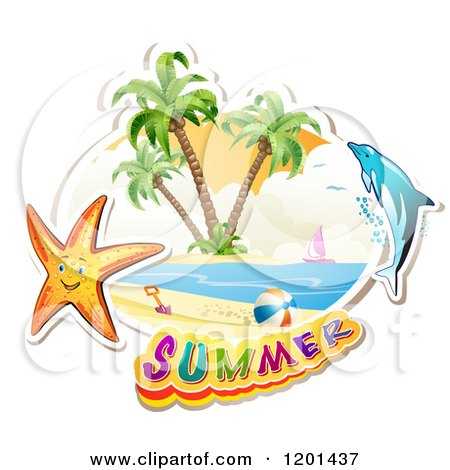 Clipart of a Dolphin Leaping over a Beach and Starfish with Summer Text - Royalty Free Vector Illustration by merlinul