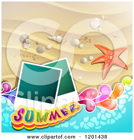 Clipart of a Starfish over a Beach with Instant Photos and Summer Text - Royalty Free Vector Illustration by merlinul