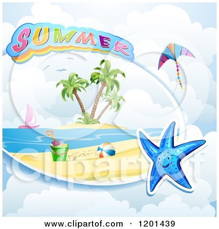 Clipart of a Starfish over a Beach and Summer Text 2 - Royalty Free Vector Illustration by merlinul