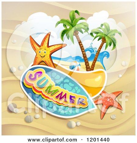 Clipart of Starfish over a Beach and Summer Text - Royalty Free Vector Illustration by merlinul