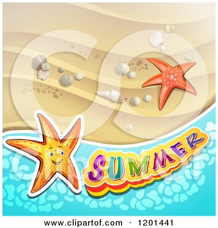Clipart of Starfish over a Beach and Summer Text 2 - Royalty Free Vector Illustration by merlinul