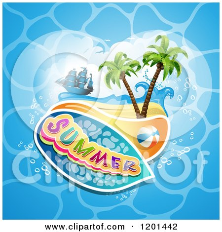 Clipart of a Ship over a Beach and Summer Text on Water - Royalty Free Vector Illustration by merlinul