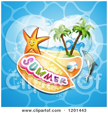 Clipart of a Starfish over a Beach and Dolphin with Summer Text - Royalty Free Vector Illustration by merlinul