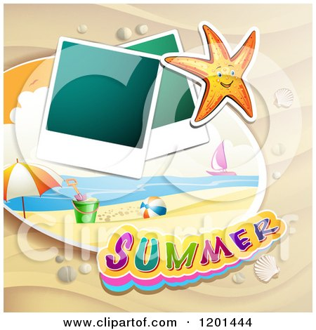 Clipart of a Starfish over a Beach with Instant Photos and Summer Text 2 - Royalty Free Vector Illustration by merlinul