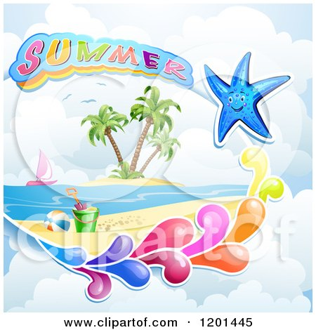 Clipart of a Starfish with a Colorful Splash over a Beach and Summer Text - Royalty Free Vector Illustration by merlinul