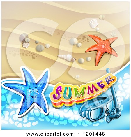 Clipart of Starfish with Snorkel Gear over a Beach and Summer Text - Royalty Free Vector Illustration by merlinul