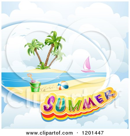 Clipart of a Beach Scene Sail Boat and Summer Text over Clouds - Royalty Free Vector Illustration by merlinul