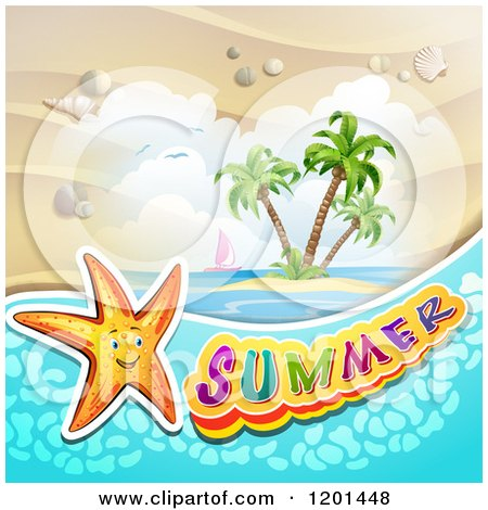 Clipart of a Starfish over an Island and Summer Text - Royalty Free Vector Illustration by merlinul