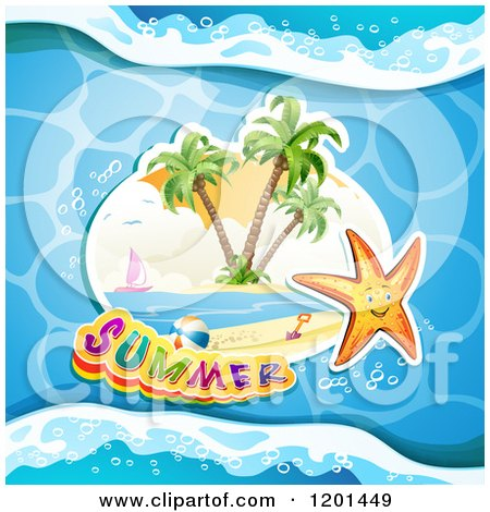 Clipart of a Starfish over an Island and Summer Text on Water - Royalty Free Vector Illustration by merlinul