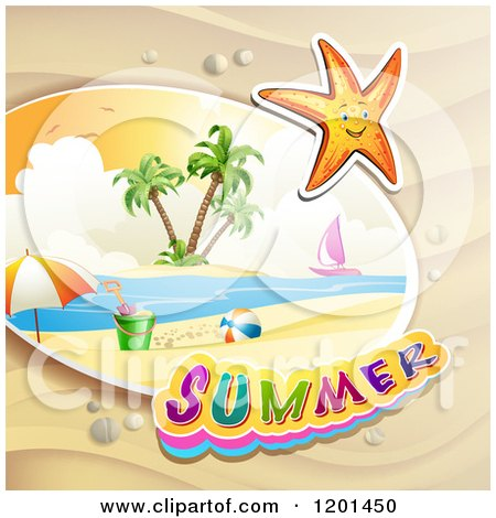 Clipart of a Starfish over a Beach and Summer Text - Royalty Free Vector Illustration by merlinul