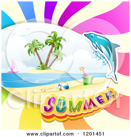 Clipart of a Dolphin Leaping over a Beach and Summer Text| Royalty Free Vector Illustration by merlinul