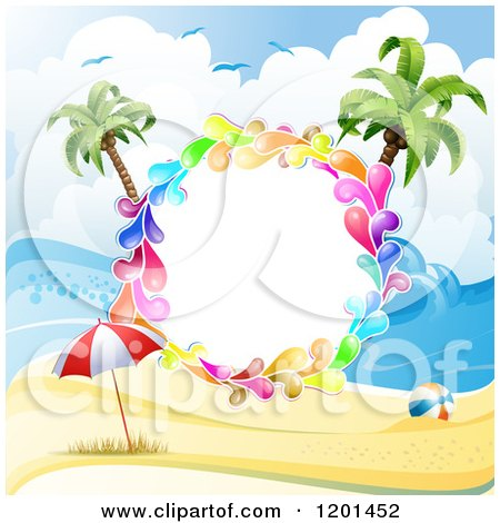 Clipart of a Colorful Round Splash Frame over a Beach - Royalty Free Vector Illustration by merlinul