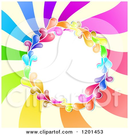 Clipart of a Colorful Round Splash Frame over Spiraling Rays - Royalty Free Vector Illustration by merlinul