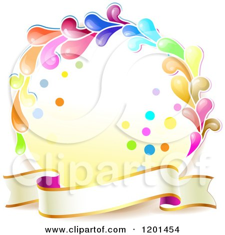 Clipart of a Colorful Round Splash Frame with a Ribbon Banner - Royalty Free Vector Illustration by merlinul