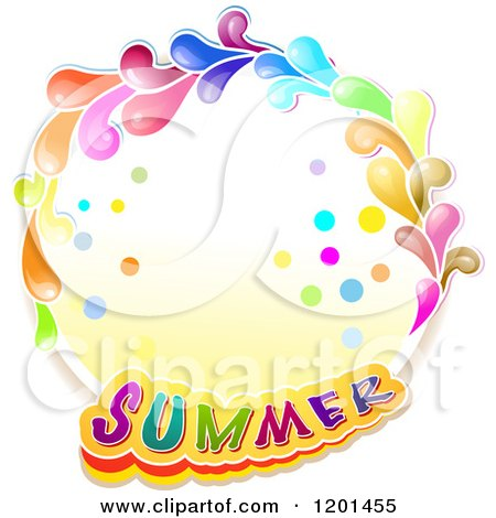 Clipart of a Colorful Round Splash Frame with Summer Text - Royalty Free Vector Illustration by merlinul