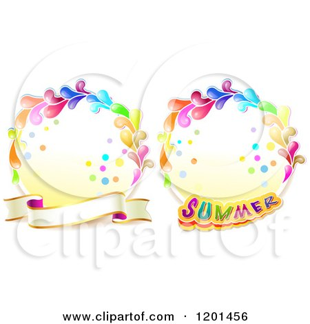 Clipart of Colorful Round Splash Frames with Summer Text and a Banner - Royalty Free Vector Illustration by merlinul