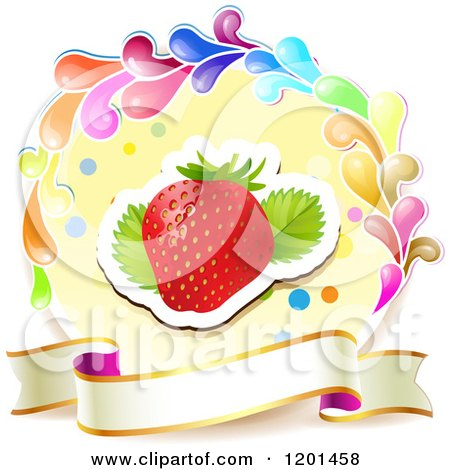 Clipart of a Colorful Round Splash Frame with a Strawberry and Banner - Royalty Free Vector Illustration by merlinul