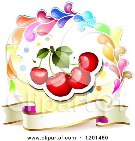 Clipart of a Colorful Round Splash Frame with Cherries and Banner - Royalty Free Vector Illustration by merlinul