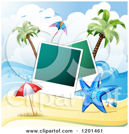 Clipart of a Starfish over a Beach with Instant Photos 3 - Royalty Free Vector Illustration by merlinul