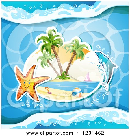 Clipart of a Dolphin Leaping over a Beach and Starfish 3 - Royalty Free Vector Illustration by merlinul