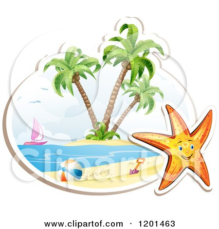 Clipart of a Happy Starfish over a Beach Scene on White - Royalty Free Vector Illustration by merlinul