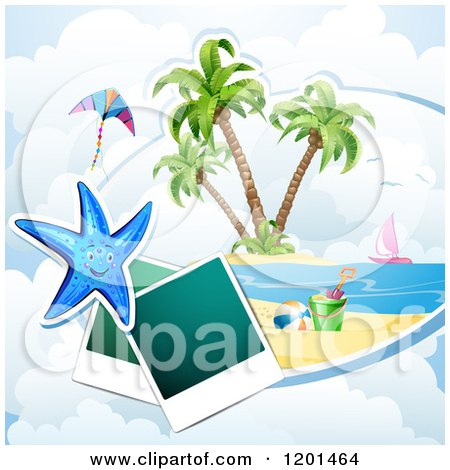 Clipart of a Starfish over a Beach with Instant Photos 2 - Royalty Free Vector Illustration by merlinul
