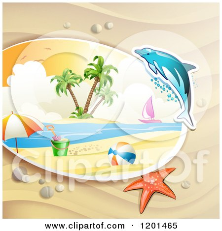 Clipart of a Dolphin Leaping over a Beach and Starfish - Royalty Free Vector Illustration by merlinul
