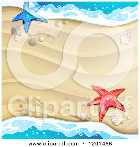 Clipart of a Background of Beach Sand and Surf with Shells and Starfish - Royalty Free Vector Illustration by merlinul